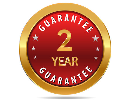 2 year guarantee golden red button, badge,sign