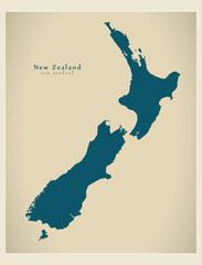 Modern Map - New Zealand NZ