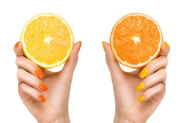 Woman Hands Holding Fresh Citrus Fruits. Healthy Diet Concept