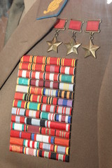 Military awards on the green uniform