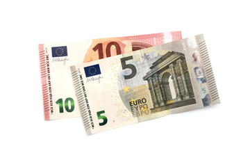 five and ten euros on a white background