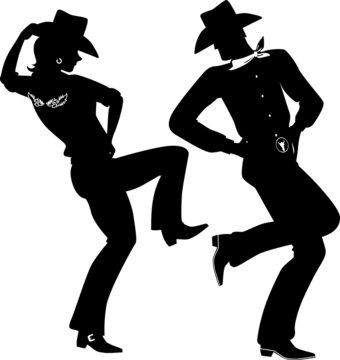 Silhouette of a cowboy and cowgirl dancing country-western