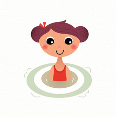 Swimming summer girl retro cartoon illustration