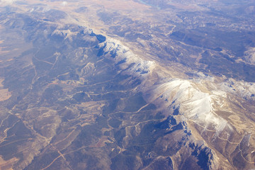 Aerial view of Sierra Nevada in Spain