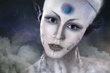 beautiful girl with the mysterious make-up Alien