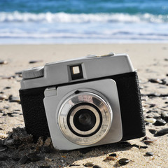 old camera on the beach