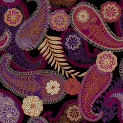 seamless pattern with paisley ornament