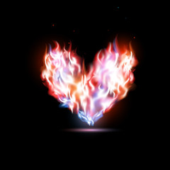human heart in flames
