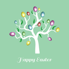 Vector easter tree white. Holiday card blue.