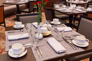 Empty breakfast table
