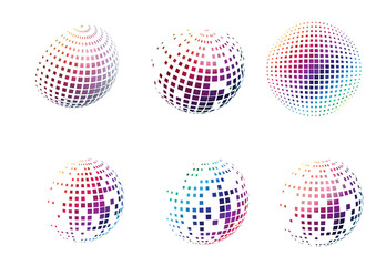 Set of dotted colorful square spheres