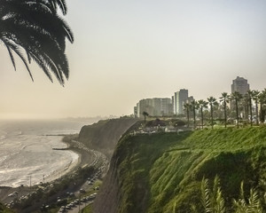 Modern Buildings at the Coast of Pacific Ocean in Lima Peru
