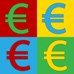 Pop art euro symbol icons.