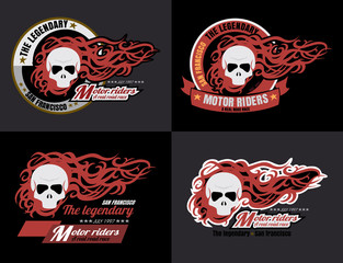 set of vector Motorcycle skull typography, t-shirt graphics, vec