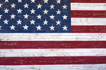 Painted American flag onn wooden wall