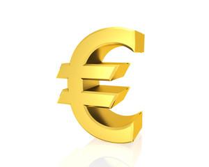 golden euro symbol isolated white background