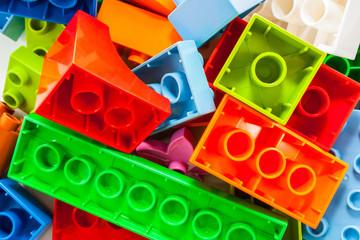 Color plastic toy blocks.