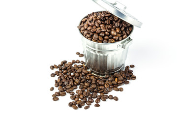 Coffee beans in metal box