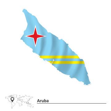 Map of Aruba with flag
