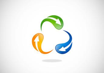circle arrow recycle vector logo