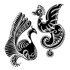 animal dragon bird decorative art tattoo