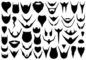Set of different beards isolated on white
