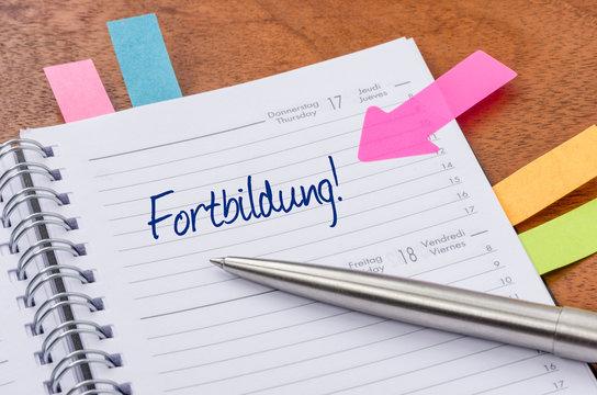 Terminkalender mit Hinweissticker - Fortbildung