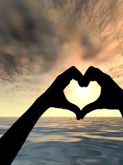 Human hand in shape of heart