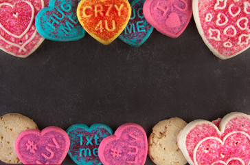 valentine's day cookies on a black stone