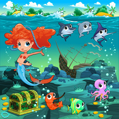 Mermaid with funny animals on the sea floor