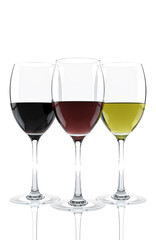 glass of red and white wine isolated