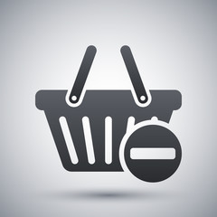 Vector remove from shopping basket icon