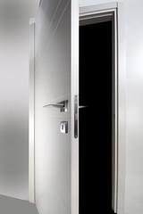 white wooden door open