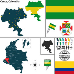 Map of Cauca, Colombia