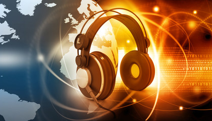 Digital world with headphones, world music concept.
