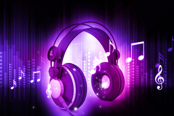 Digital world with headphones, world music concept