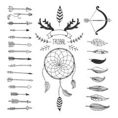 Vector Tribal design elements, aztec symbols, arrows