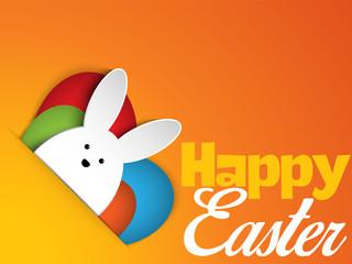 Happy Easter Rabbit Bunny on Orange Background