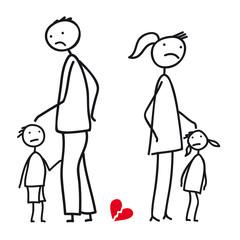 Scheidung - Paar mit Kindern in Trennung