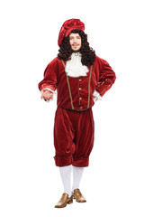 Portrait of the Middle Ages man in red costume isolated on white