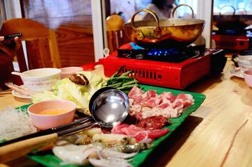 Sukiyaki or Shuba Shabu or Hot Pot in restaurant
