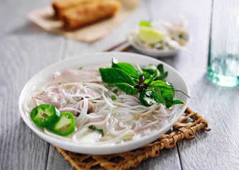 bowl of hot vietnamese pho