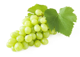 Grapes brunch closeup isolated on white