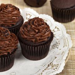 Homemade Chocolate Cupcakes. Selective focus.