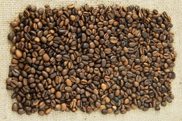 Brown coffee beans, closeup of coffee beans