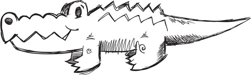 Wall Murals Cartoon draw Doodle Sketch Alligator Vector Illustration Art