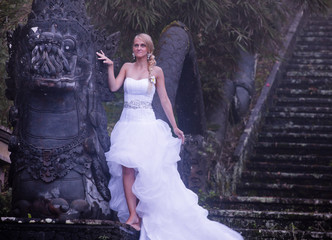 bride in fairy park in Bali