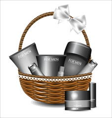 Set of different beauty products in a wicker basket. For men.