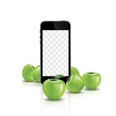 Smartphone transparent screen, phone and apples