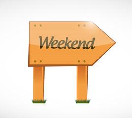 weekend wood sign illustration design